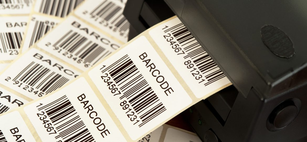 Lots of labels printed from a barcode printer